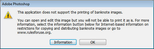 Pop up warning from Adobe PhotoShop CS2 v.9.0 on loading a photograph of a US $20 banknote.