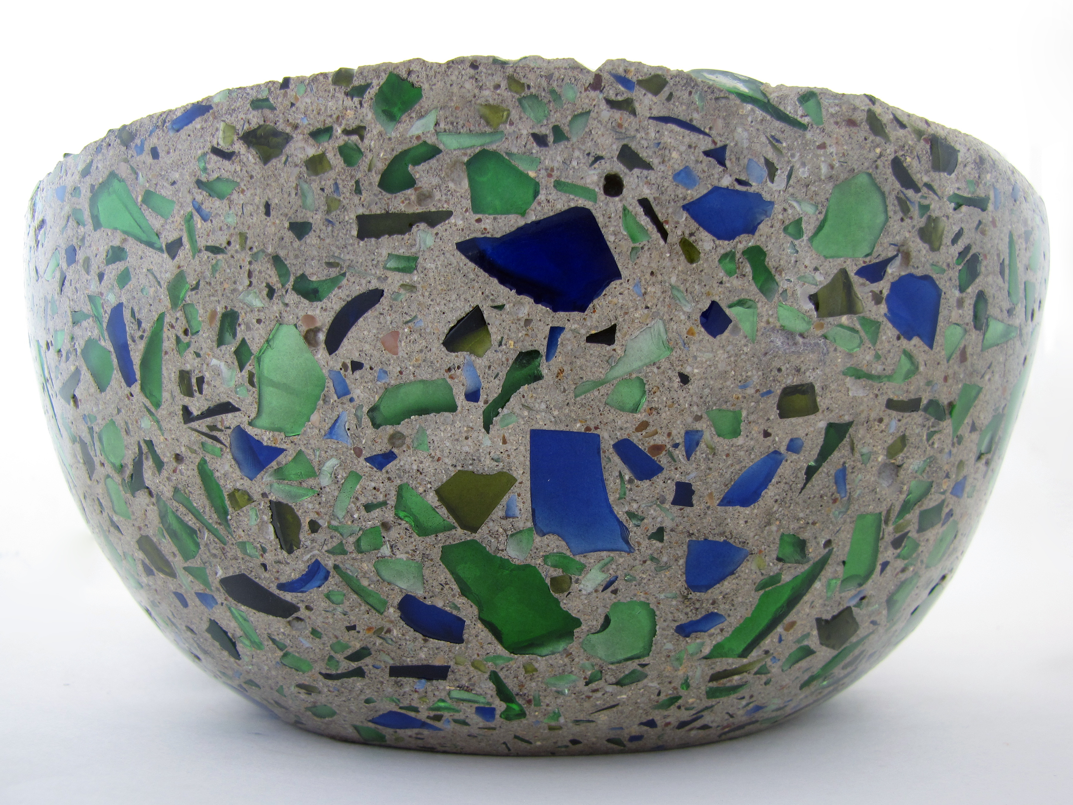 Concrete Bowl With Bottle Glass Aggregate Smragan Com