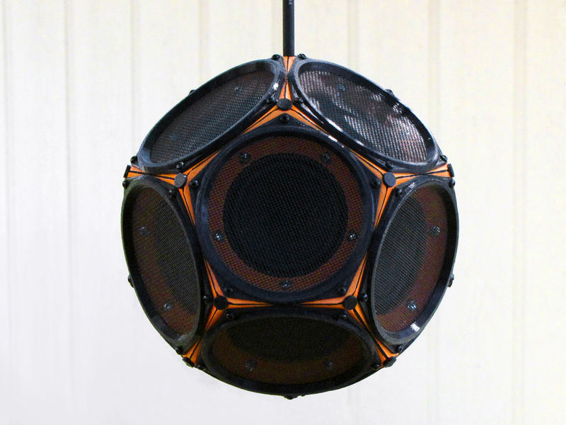 The dodecahedron speaker itself, viewed face-on.
