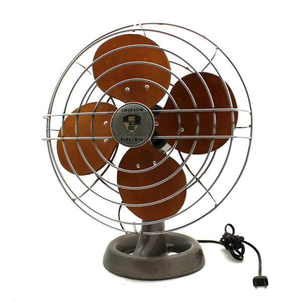 The refurbished fan, with handsome brown leather blades, touched-up paint, and straightened wire cage.