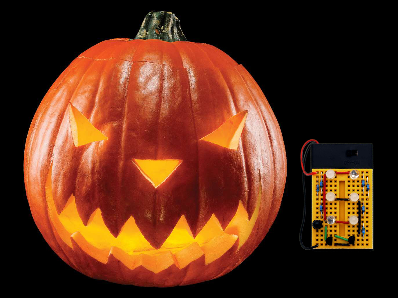 "Complete ""Hack-o'-lantern"" and mini breadboard that goes inside"